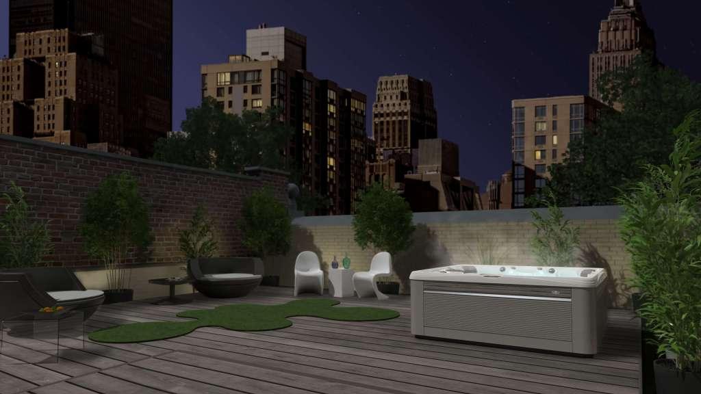 Cng voorstelling van een Salina spa uit de Paradise-serie van Caldera. Het bad wordt weergegeven op een dakterras in de stad. Op de achtergrond is een skyline te zien.