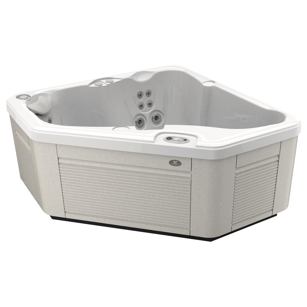 Foto van een Caldera Spa type Aventine. Het bad op de foto is uitgevoerd met een kuip in de kleur arctic white en een Avante™-omkasting in de kleur parchment.