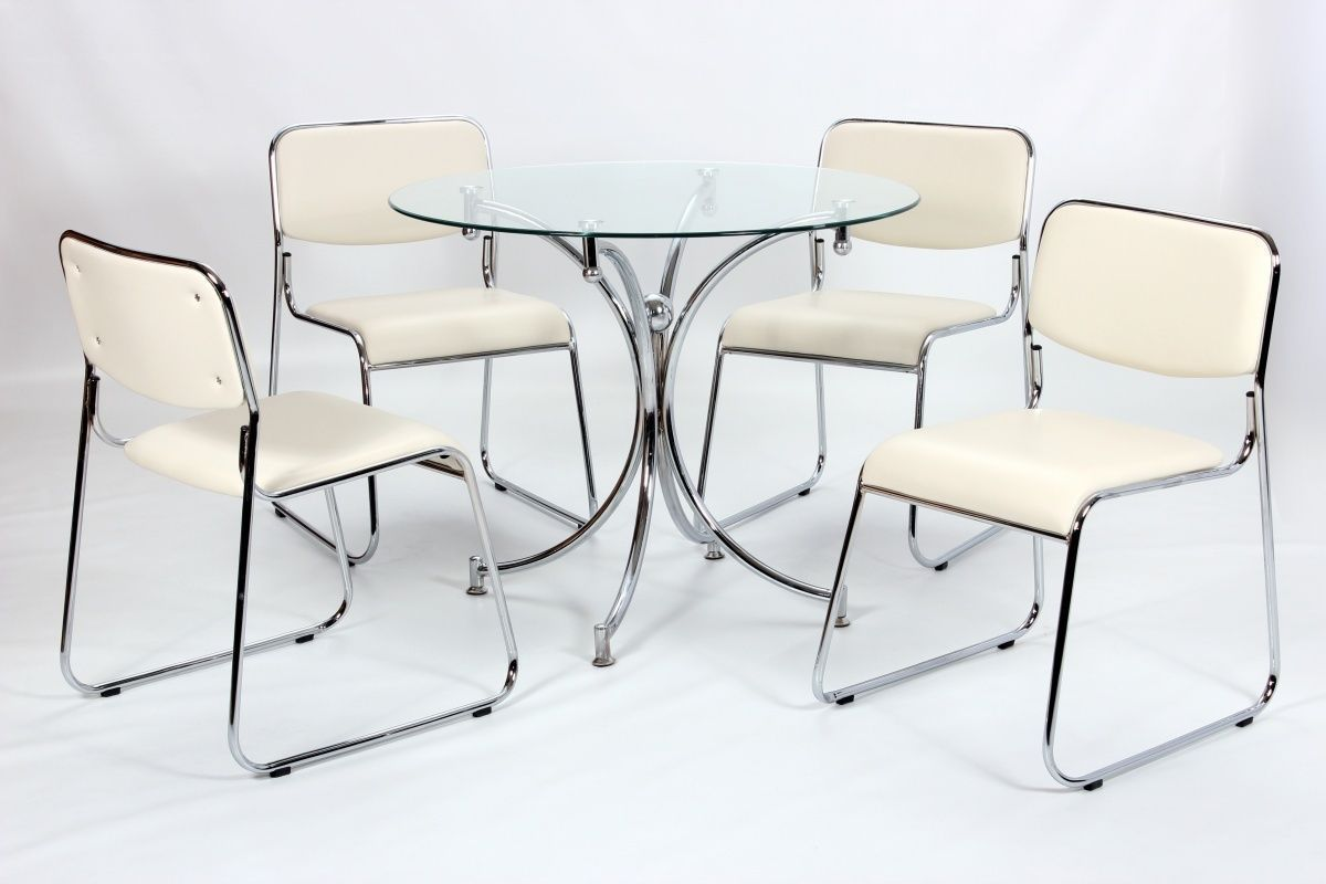 Glass Tables And Chairs Modern Small Round Glass Dining Table And 4 Chairs