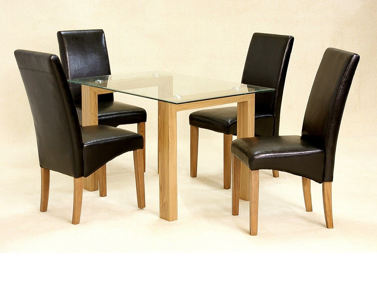 1a8c32e48f0 Glass Dining Table And 4 Chairs Clear Small Set Oak Wood