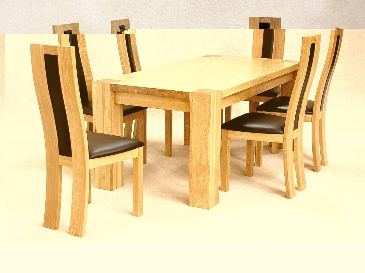 Table With Chairs Solid Wooden Rectangle Dining Table And 6 Chairs Set
