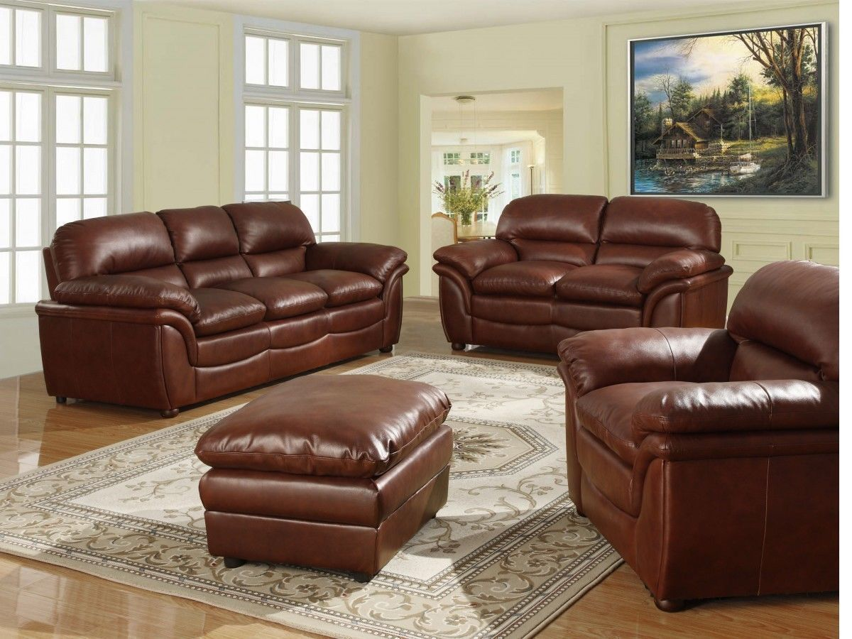 Brown 3 2 1 Seater Sofa Soft Leather And Footstool Homegenies