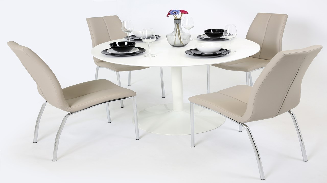 Table With Chairs White Gloss Dining Table And 4 Mink Grey Chairs