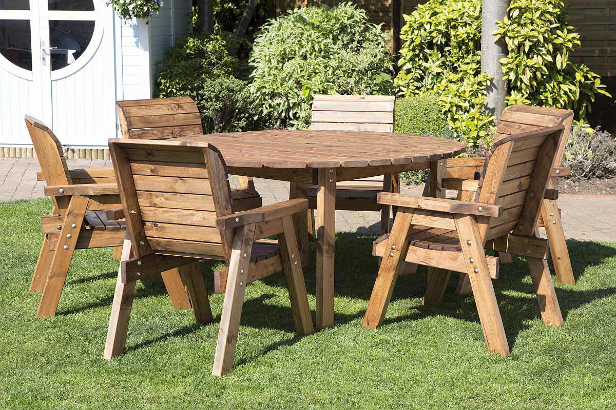 Patio Furniture Table And Chairs Round Wooden Garden Table And 6 Chairs Dining Set Solid Wood Outdoor Patio Decking Furniture