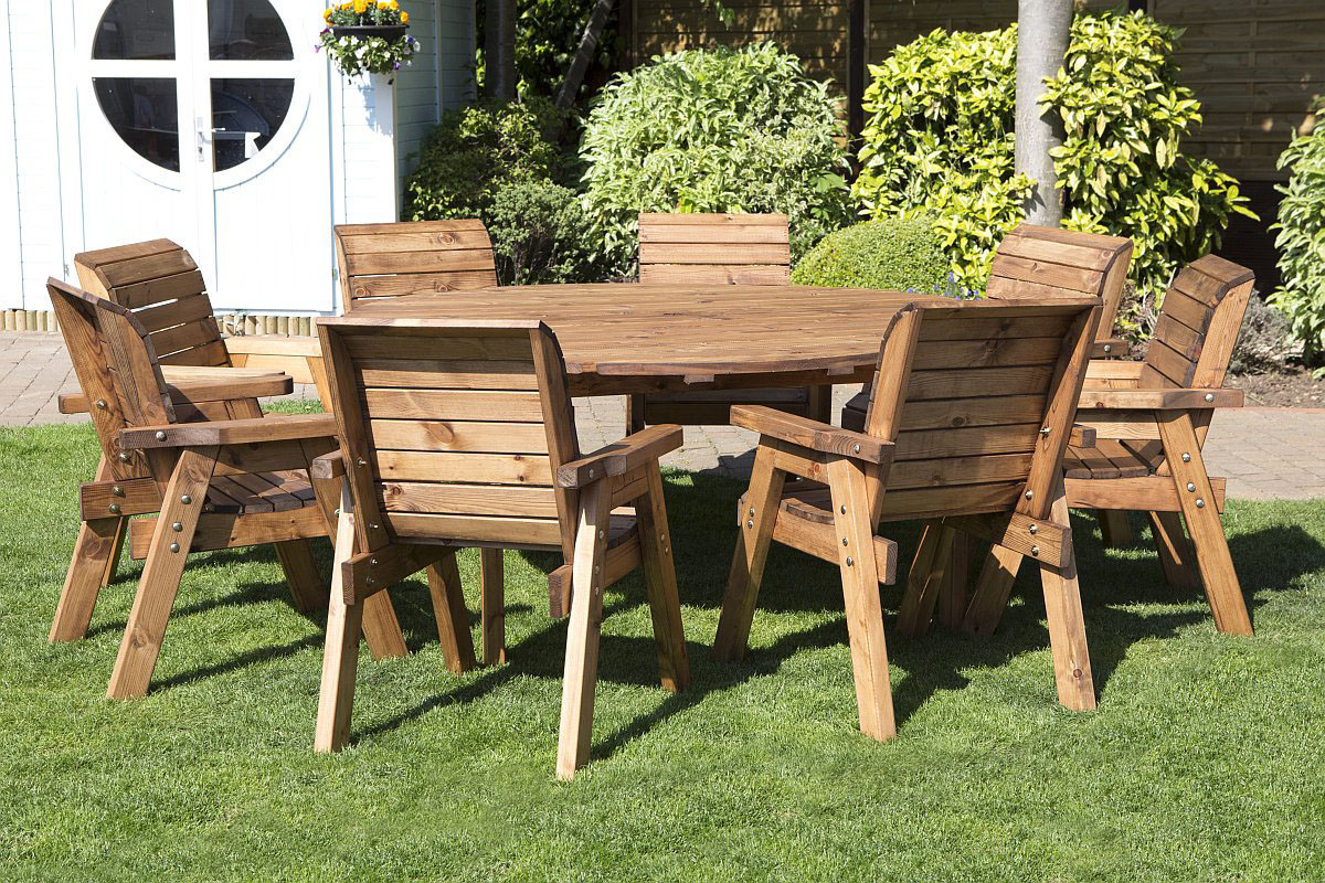 Patio Furniture Table And Chairs Round Wooden Garden Table And 8 Chairs Dining Set Solid Wood Outdoor Patio Decking Furniture