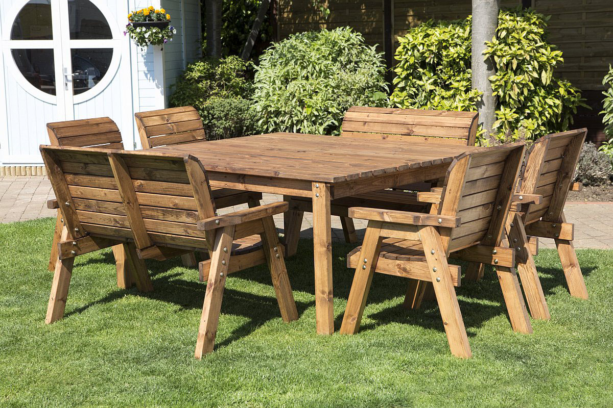 Outdoor Table And Chair Set Large 8 Seater Wooden Garden Dining Set Solid Wood Outdoor Patio Decking Furniture