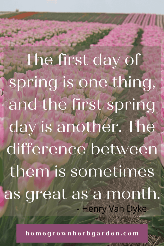 The first day of spring is one thing, and the first spring day is another. The difference between them is sometimes as great as a month. Henry Van Dyke