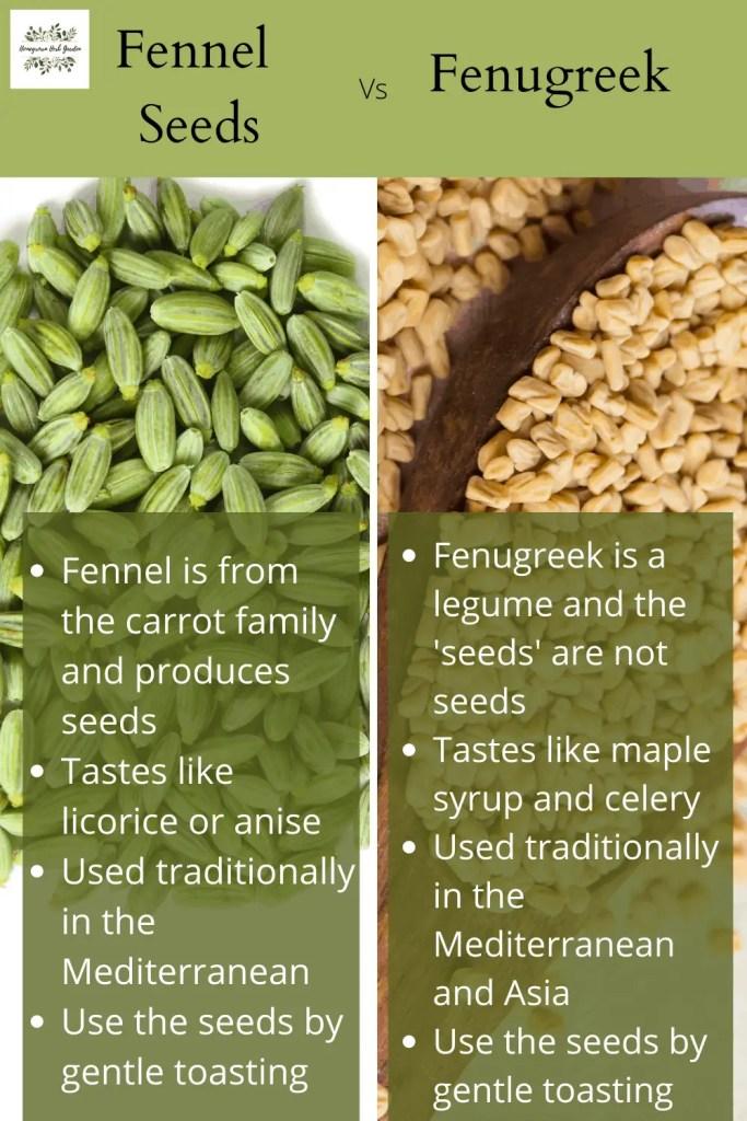 fenugreek vs fennel seeds