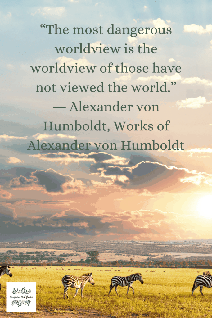 """The most dangerous worldview is the worldview of those have not viewed the world."" ― Alexander von Humboldt, Works of Alexander von Humboldt"