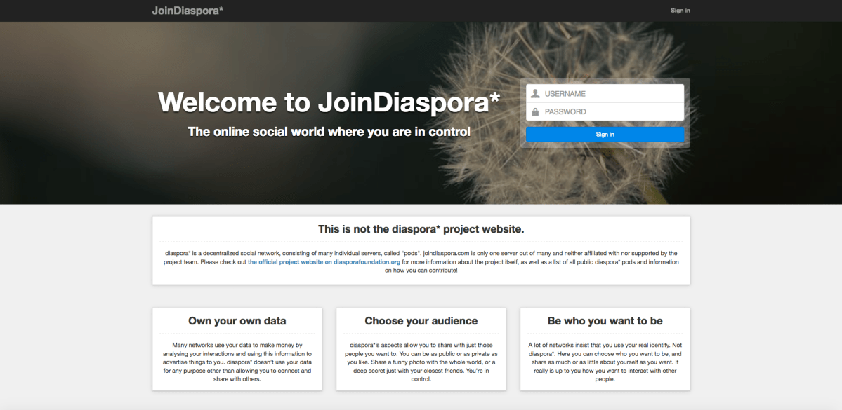 In search of a replacement social network, Diaspora