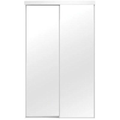 colonial elegance mirror sliding closet door top roll white 72 x 80