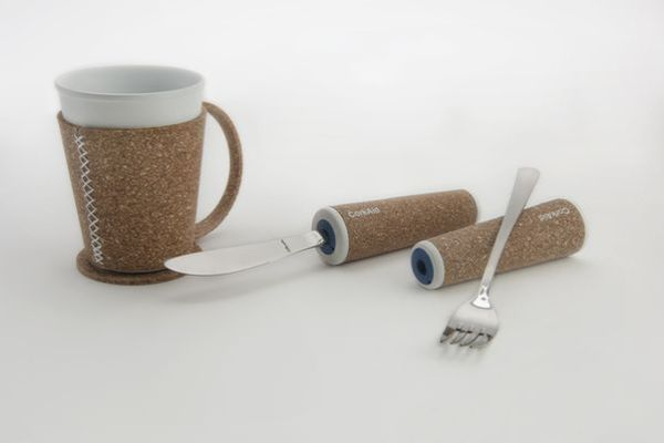 CorkAid eating and drinking aids made from recycled cork