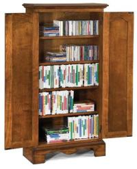Tall Oak Wood CD/DVD Media Storage Cabinet in a Country