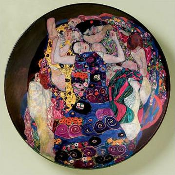 Colorful Ceramic Plate Showing Gustav Klimts The Virgin