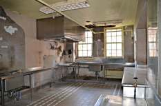 A kitchen in one of the mess halls.
