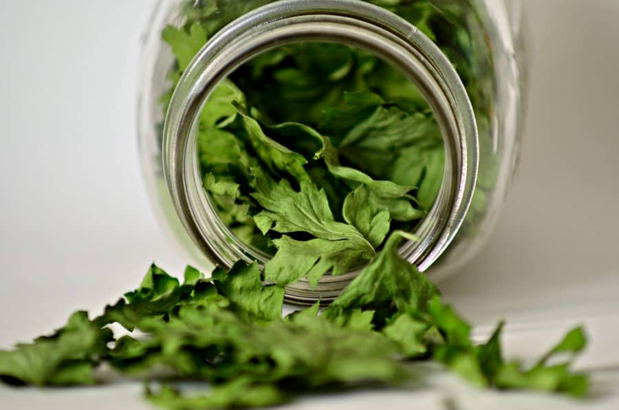 Dried Parsley in Glass jar