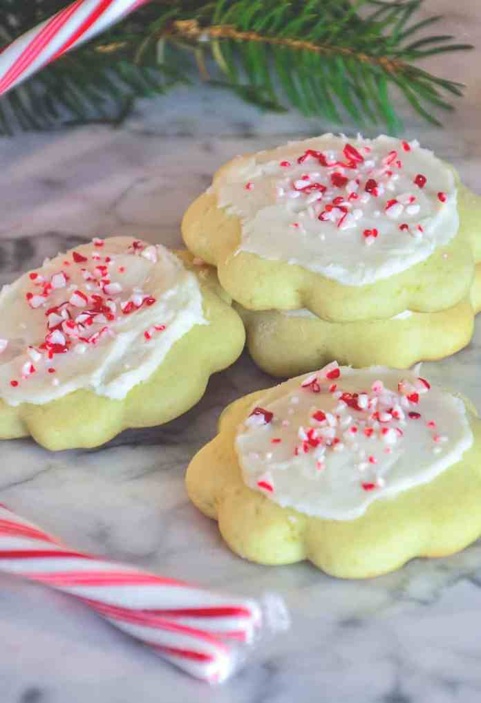Peppermint Butter Cookies are bakery soft, and have a lovely peppermint flavor that is perfect for the holidays.