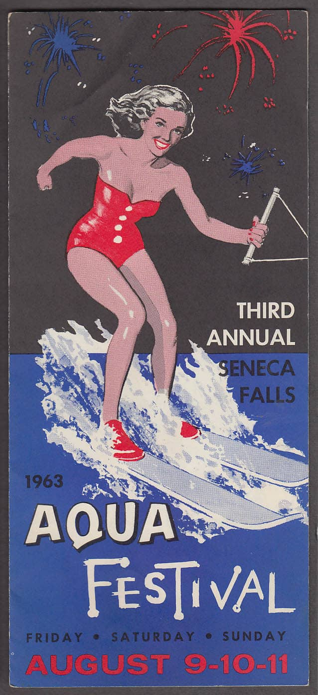 The 2017 Seneca Falls Canal Festival information and history of the Aquacade of the 60's and 70's and the creation of Van Cleef Lake.