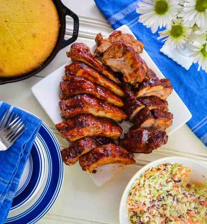 ribs, picnic, cornbread and coleslaw #shop #Smithfield #GetGrillingAmerica #CollectiveBias