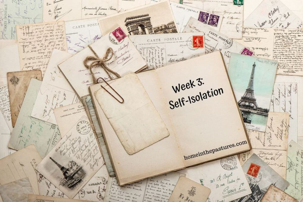 week 3: self-isolation