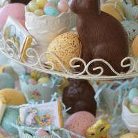 An Easter Celebration and Table with Bunnies, Eggs, Birds and Blooms!