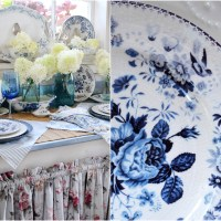 In the Potting Shed: Blue, White and Limelights Table and Vignette