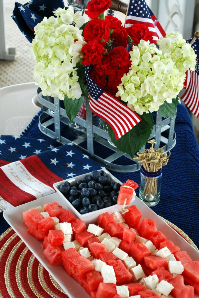 Watermelon, Feta and Blueberry Flag | ©homeiswheretheboatis.net #4thofjuly #memorialday #appetizer #patriotic #healthy #flag