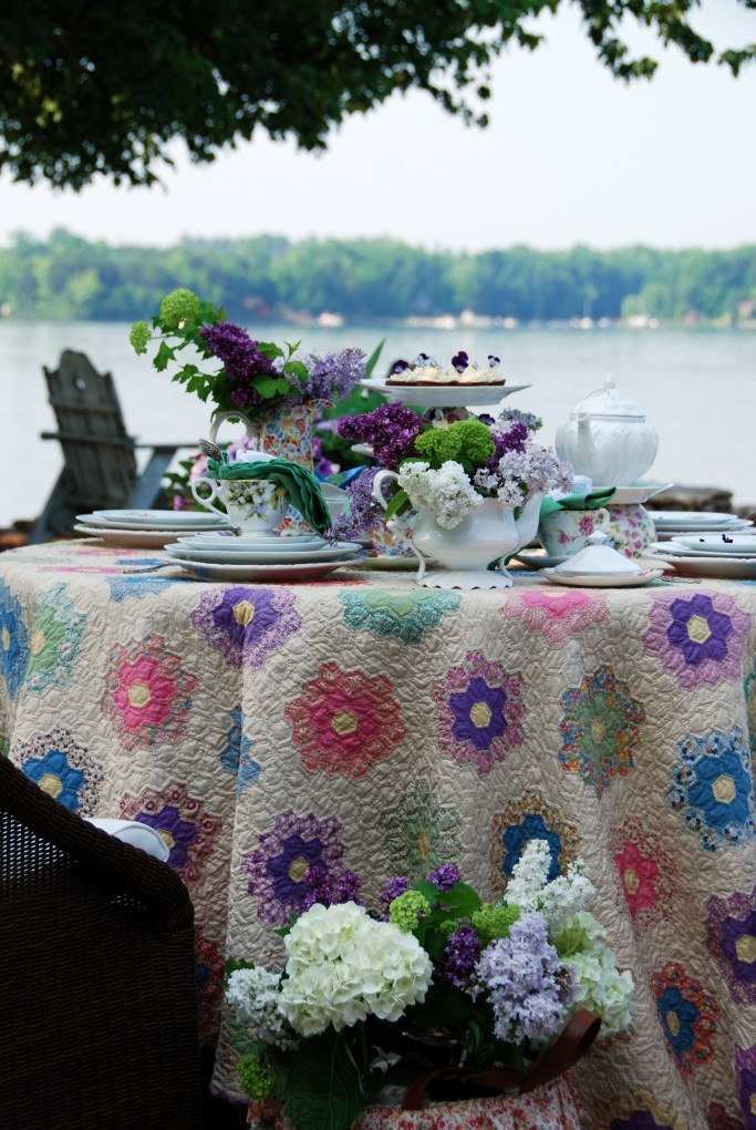 My Grandmother's Flower Garden Quilt and Table   ©homeiswheretheboatis.net