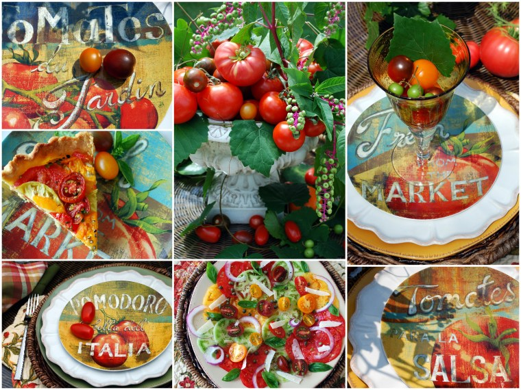 Summer tablescape with tomato centerpiece and recipes | ©homeiswheretheboatis.net #summer #tablescape #tomatoes #alfresco #recipes