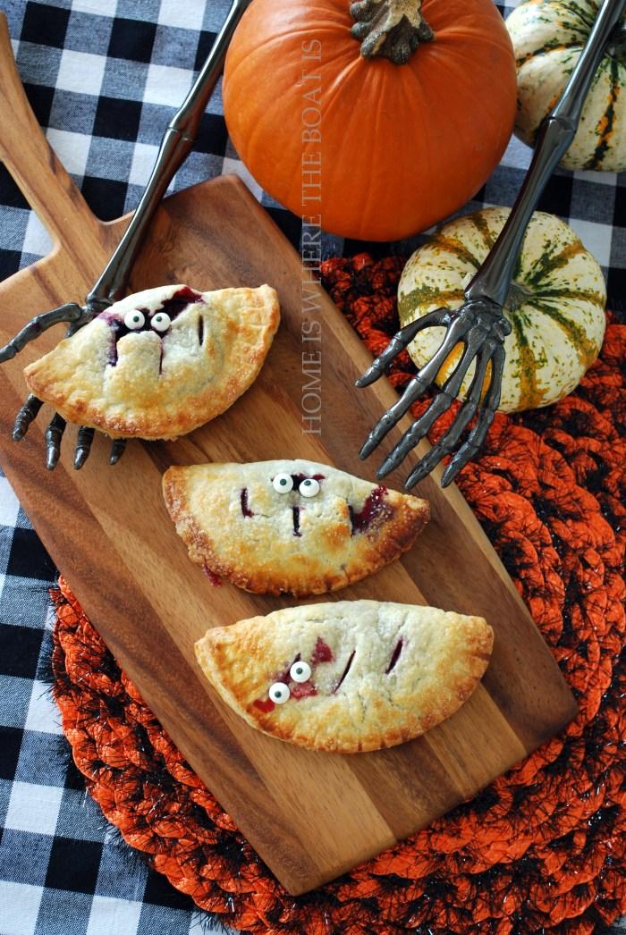 Berry Scary Hand Pies for Halloween   ©homeiswheretheboatis.net #halloween #handpies #dessert #recipe