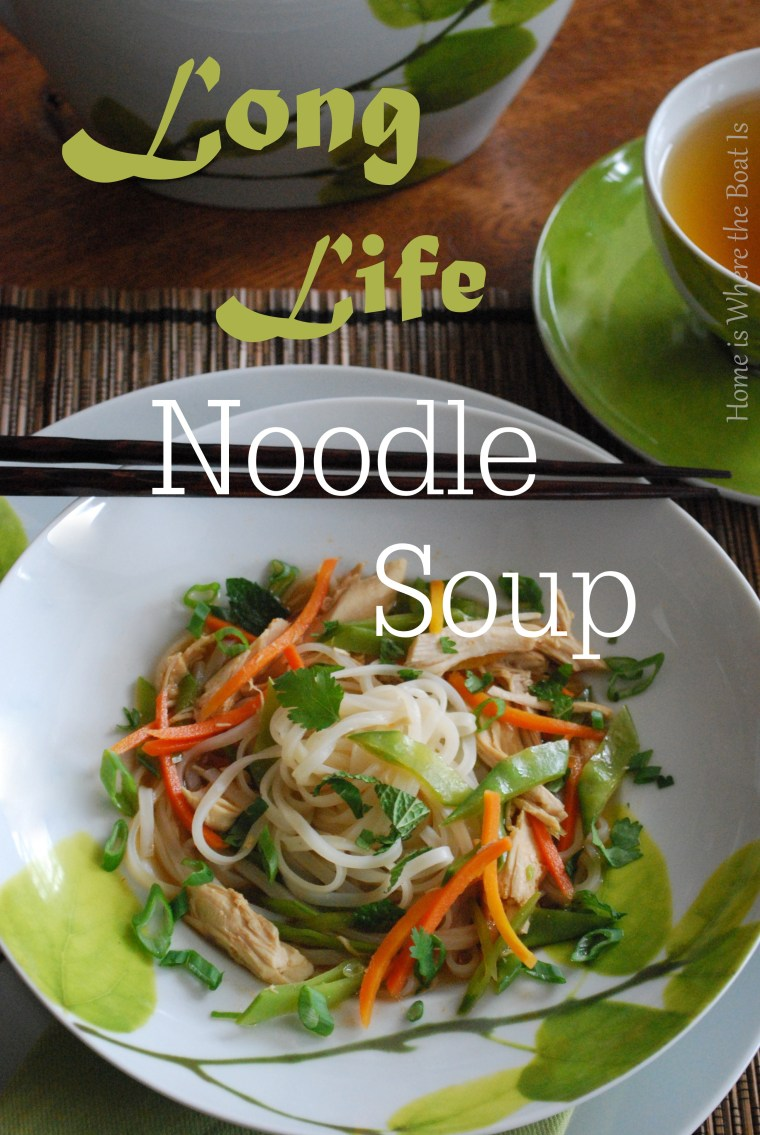 Good Luck Long Life Noodle Soup for Chinese New Year! Light, healthy, and comes together quickly! Gluten free with rice stick noodles | homeiswheretheboatis.net #soup #glutenfree