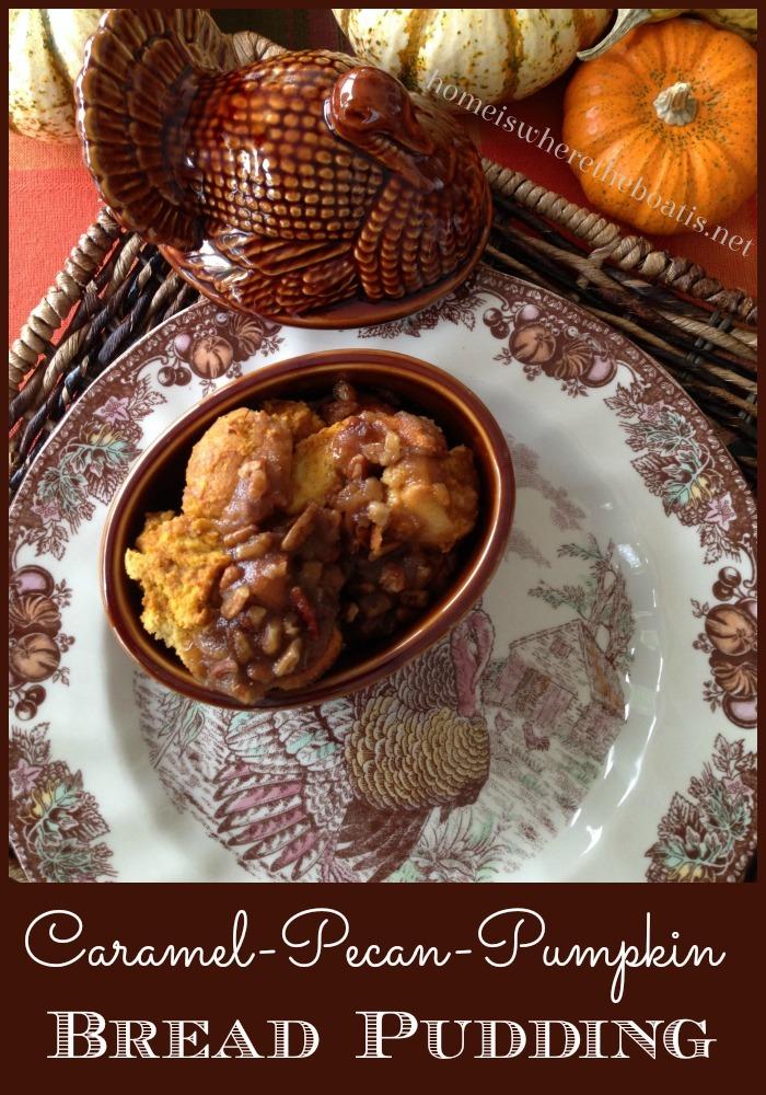 Caramel-Pecan-Pumpkin Bread Pudding #thanksgiving #dessert #pumpkin