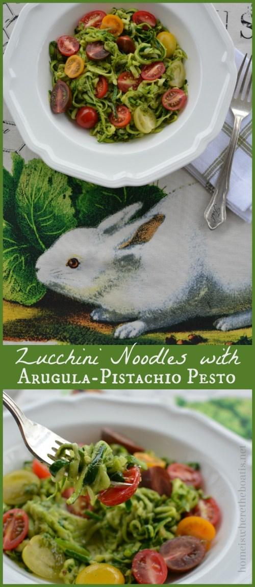 Zucchini Noodles with Arugula Pistachio Pesto