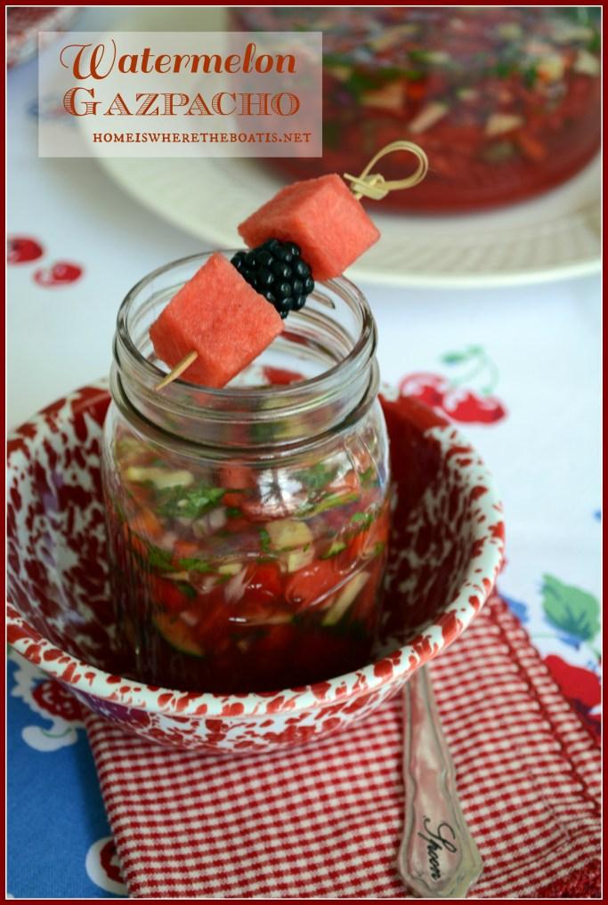 Watermelon Gazpacho | ©homeiswheretheboatis.net #recipes #summer #watermelon