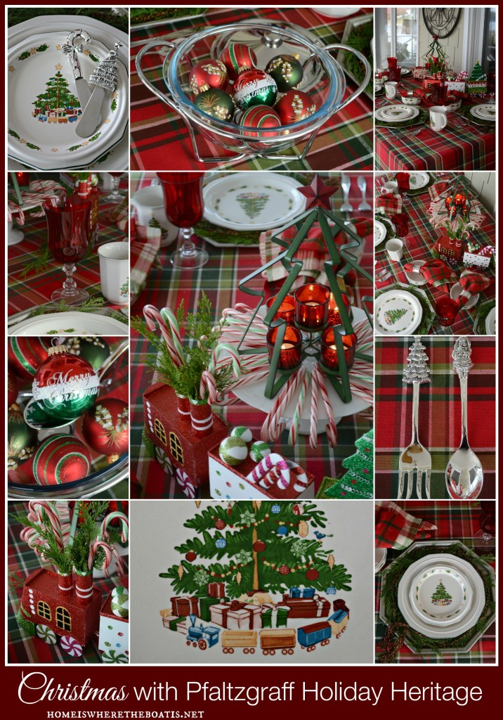 Christmas tablescape with Pfaltzgraff Holiday Heritage