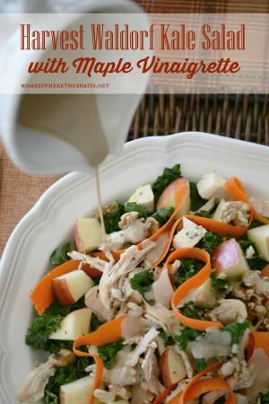 Harvest Waldorf Kale Salad with Maple Vinaigrette