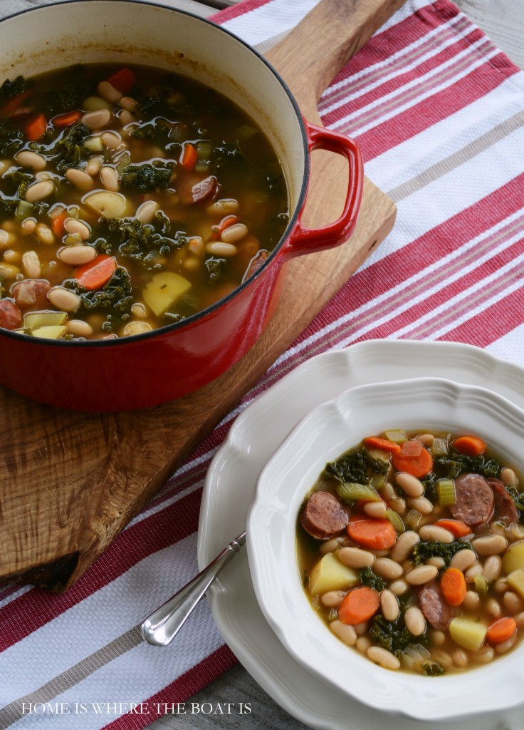 Sausage, Kale and White Bean Soup | ©homeiswheretheboatis.net #soup #recipes
