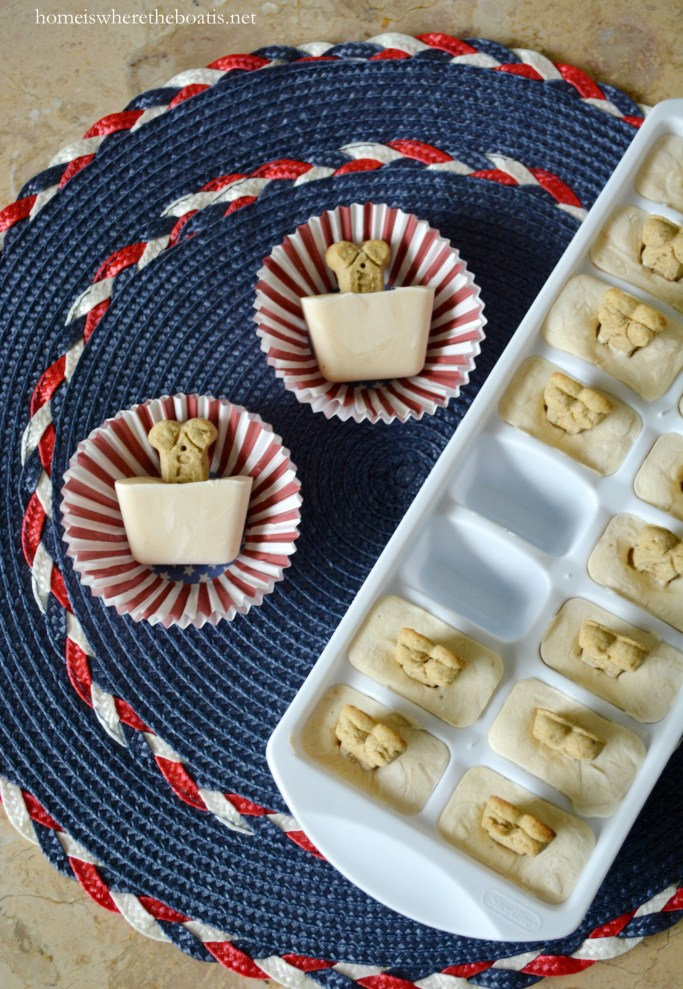 Quick and Easy Frozen Dog Treats for Summer, aka Copycat Frosty Paws Recipe   ©homeiswheretheboatis.net #dogtreats #easy #summer