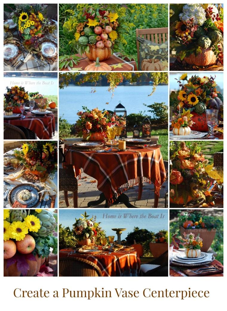 Create a Pumpkin Vase Centerpiece   ©homeiswheretheboatis.net #Thanksgiving #pumpkinvase #DIY #fall