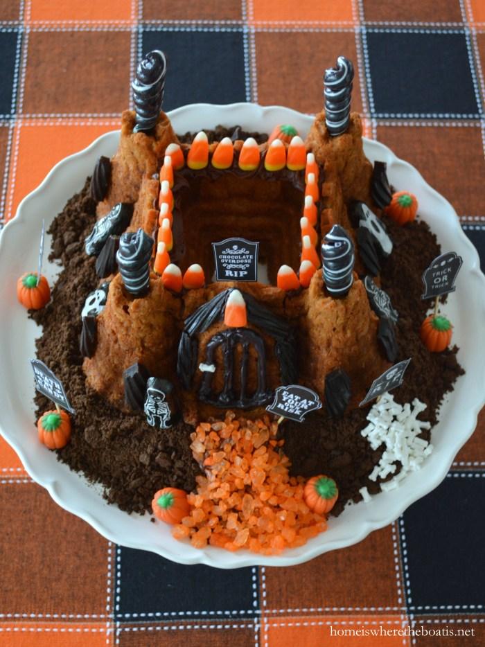 Scare up a Haunted Castle Cake from a castle bundt pan | ©homeiswheretheboatis.net #Halloween #bundt #cake