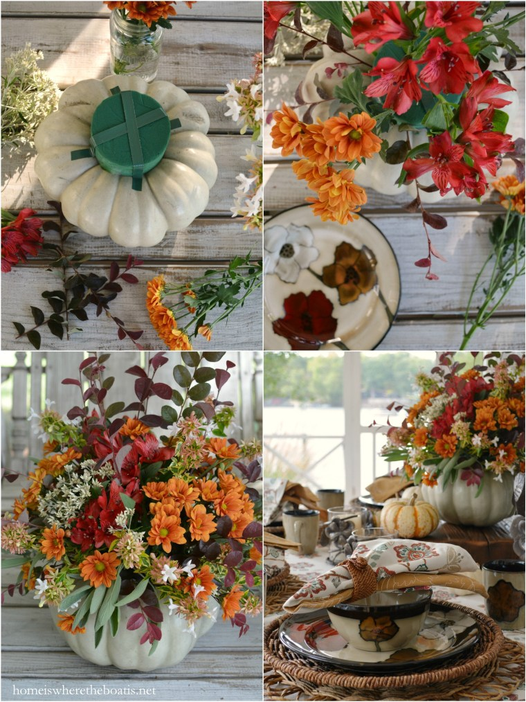 Pumpkin Floral Centerpiece and Painted Poppies Table