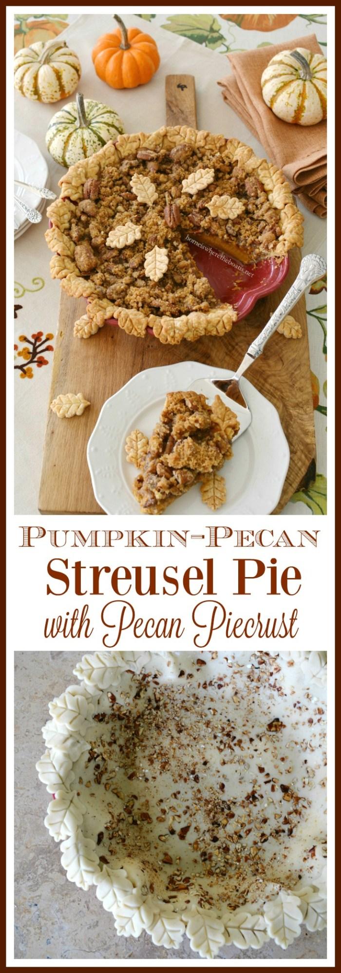 Pumpkin-Pecan Streusel Pie with Pecan Piecrust