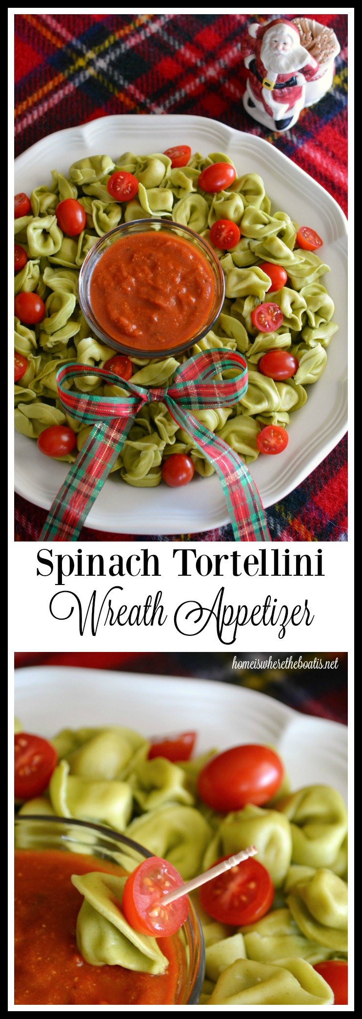 Spinach Tortellini Wreath! A 10 minute appetizer for your holiday entertaining! | homeiswheretheboatis.net #easy #Christmas #appetizer #recipes