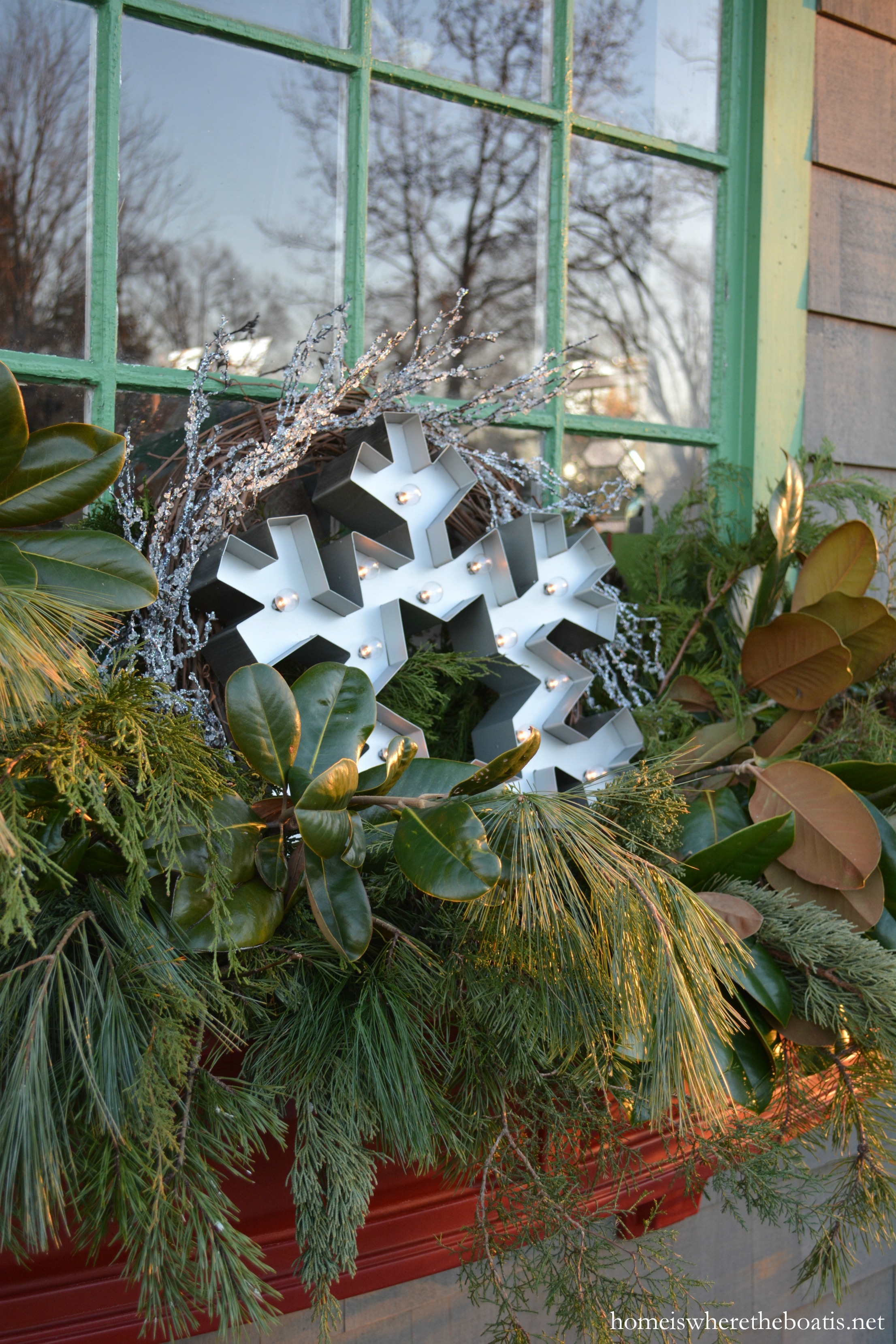 Winter Window Boxes for the Potting Shed – Home is Where the