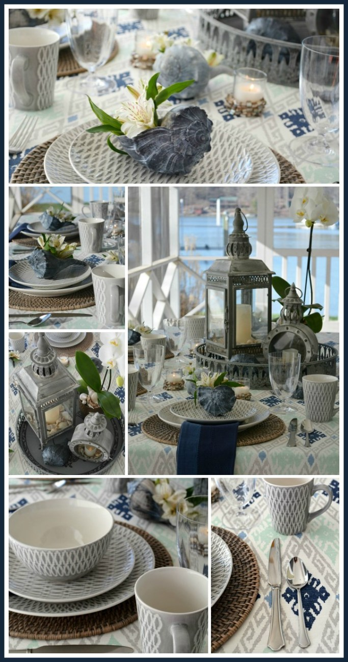 Mikasa Aurora Grey and Shells Tablescape