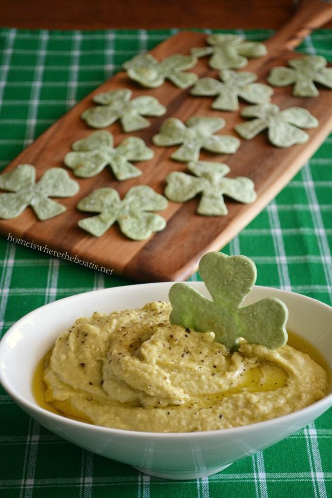Healthy St. Patrick's Day Appetizer: Avocado-Hummus Dip with Spinach Tortilla Shamrock Chips!   ©homeiswheretheboatis.net #stpatricksday #appetizer #healthy #recipes #hummus #shamrocks