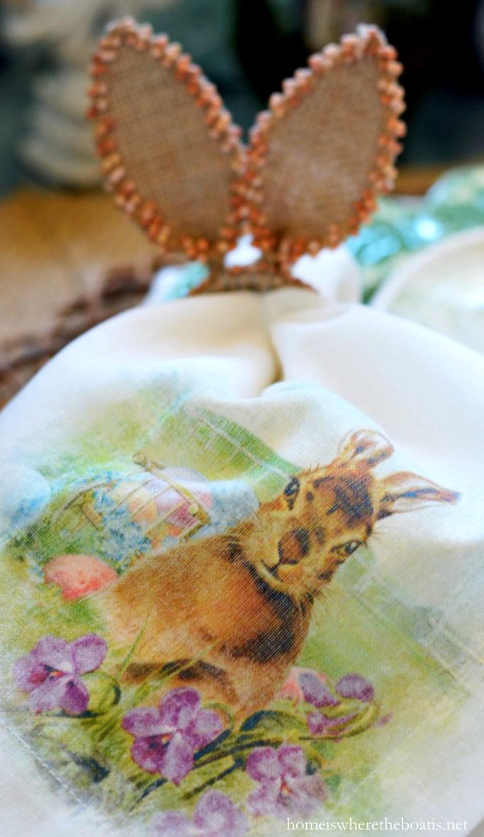 Bunny ear napkin ring | ©homeiswheretheboatis.net #bunny #napkin #easter