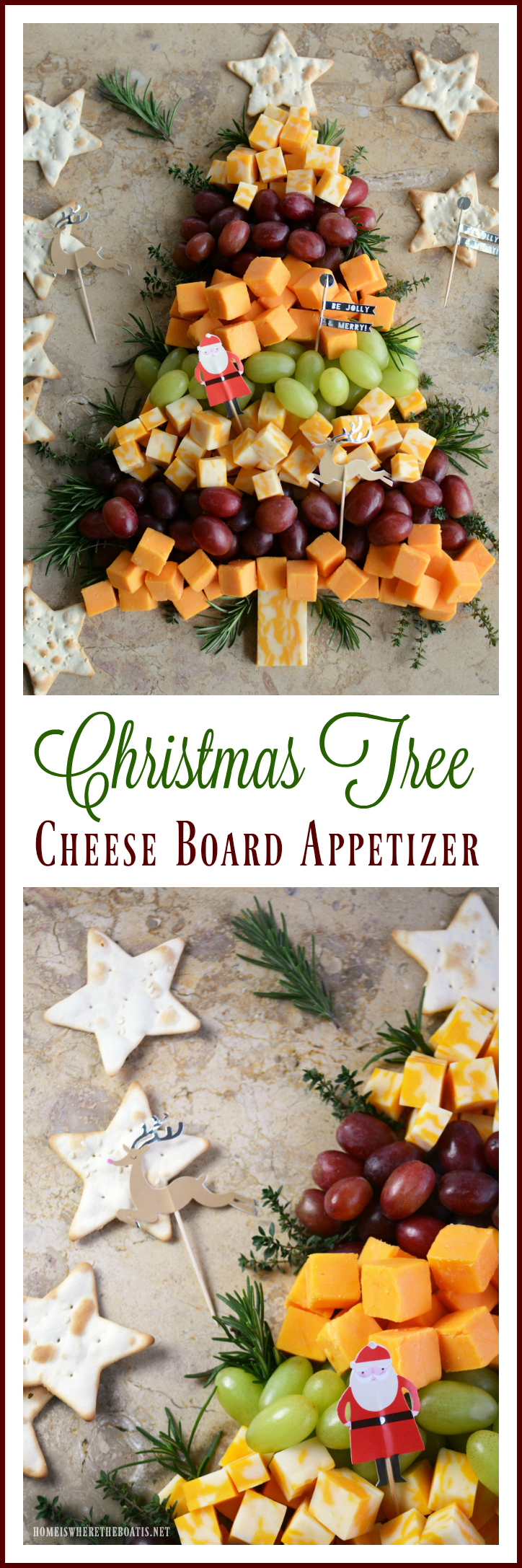Easy Holiday Appetizer: Christmas Tree Cheese Board | ©homeiswheretheboatis.net #party #appetizer #easy #Christmas #cheese
