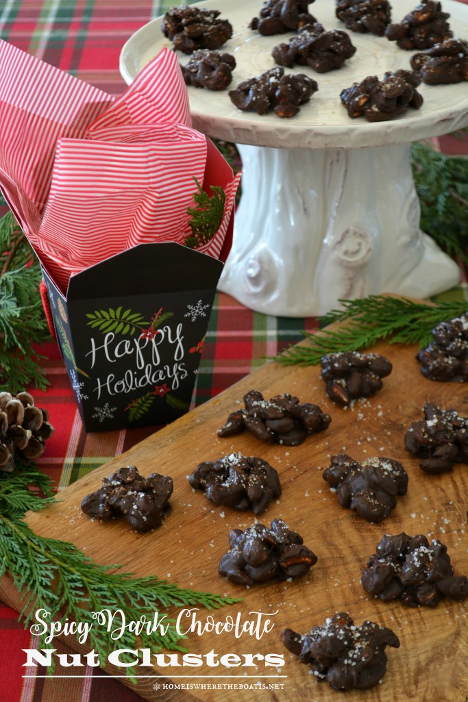 Spicy Dark Chocolate Nut Clusters | ©homeiswheretheboatis.net #christmas #easy #nobake #recipes