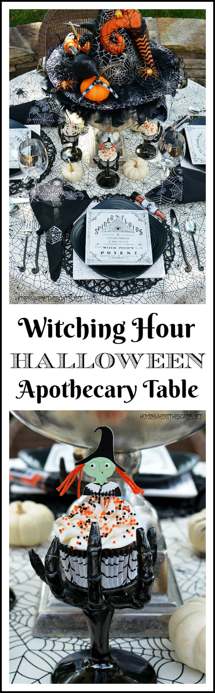 The Witching Hour Halloween Apothecary Table | ©homeiswheretheboatis.net #Halloween #tablescapes